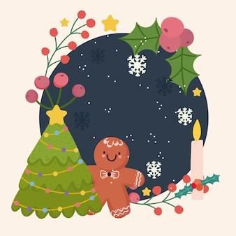 Merry christmas peperkoek man boom sneeuwvlokken kaars decoratie frame