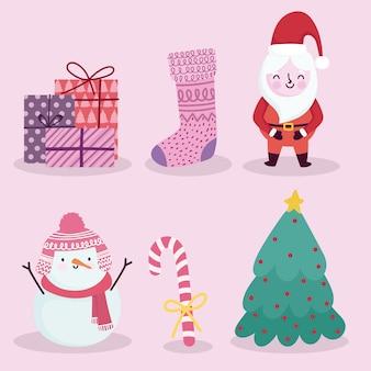 Merry christmas-pictogrammen instellen santa sneeuwpop candy cane sok geschenken en boom