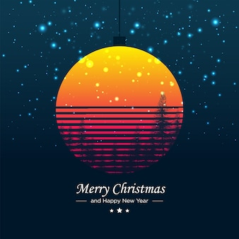 Merry christmas poster retro vintage concept