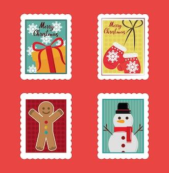 Merry christmas postzegels set, cadeau, wanten, sneeuwpop en peperkoek man illustratie