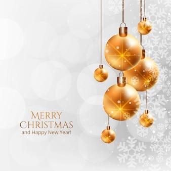 Merry christmas prachtige wenskaart met realistische ballen