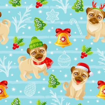 Merry christmas pug dog patroon. naadloze wintervakantie print achtergrond. grappige kerstmis.