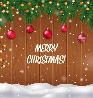 Merry christmas realistische achtergrond met kerstboom en sneeuwval
