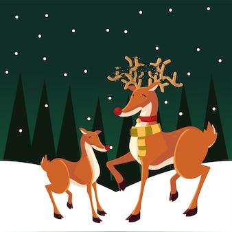 Merry christmas rendieren cartoon in de sneeuw landschapsarchitectuur illustratie