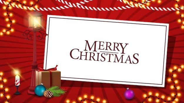 Merry christmas rode ansichtkaart met witboek blad