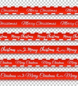 Merry christmas rode banners set waarschuwing tapes linten op transparante achtergrond