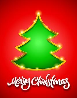 Merry christmas rode kaart met letters en groene fir tree