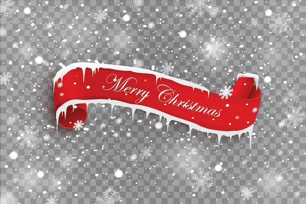 Merry christmas rode scroll. illustratie van gelukkig nieuwjaar.