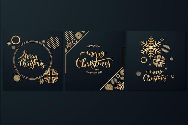 Merry christmas roze koperen sjabloon set met vakantie rendieren en xmas bronzen elementen in laag poly stijl. ideaal voor wenskaarten, posters of webdesign.