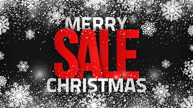 Merry christmas sale 3d tekst abstracte achtergrond met decoratieve sneeuwvlokken