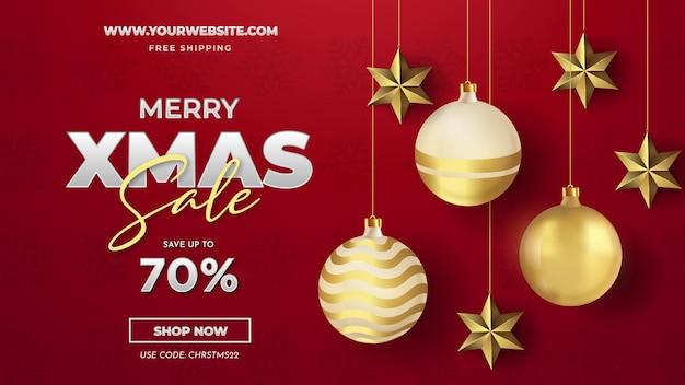 Merry christmas sale-achtergrond met realistische kerstballen