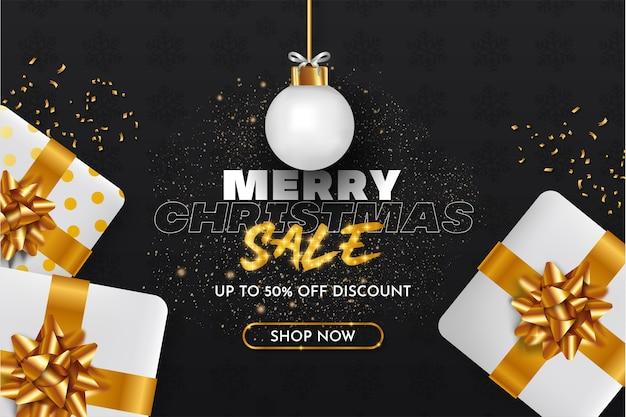 Merry christmas sale achtergrond met realistische xmas-objecten