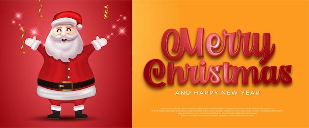Merry christmas sale banner met de kerstman en 3d-stijlnummer