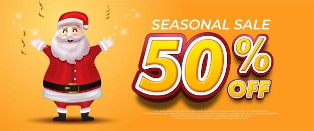Merry christmas sale banner met de kerstman en 3d-stijlnummerpromotie 50% korting