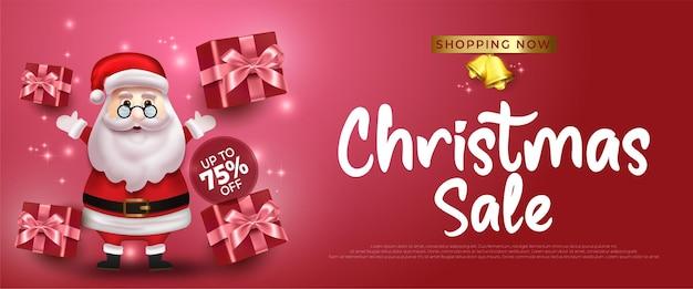 Merry christmas sale banner met de kerstman en geschenkdoos op rode achtergrond