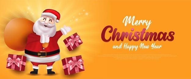 Merry christmas sale banner met kerstman en geschenkdoos sjabloon wenskaart op gele achtergrond