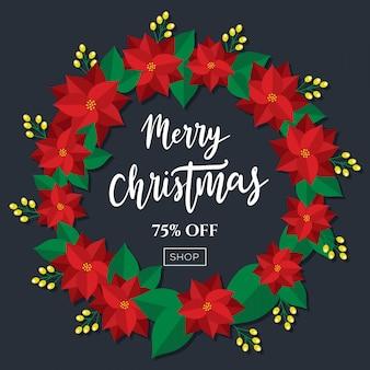 Merry christmas sale korting tag poster krans ontwerp