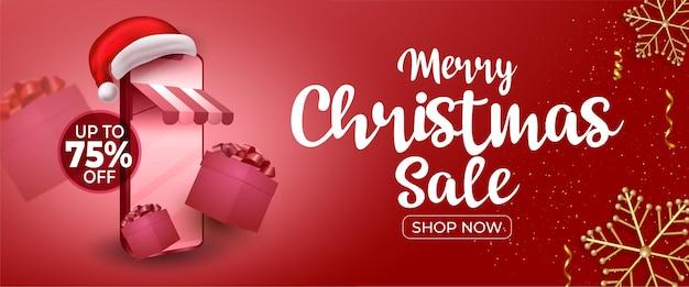 Merry christmas sale posterontwerp met speciale kortingsaanbieding