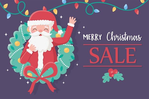 Merry christmas santa claus in krans lichten decoratie kaart illustratie