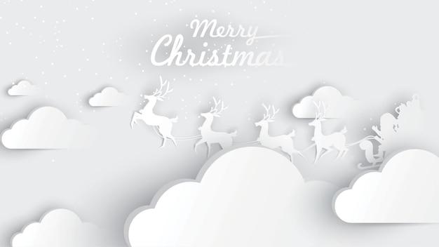 Merry christmas santa papieren kunst en digitale ambachtelijke stijl