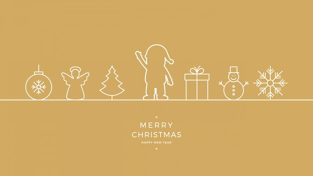 Merry christmas santa wave lijn pictogram kaart gouden achtergrond