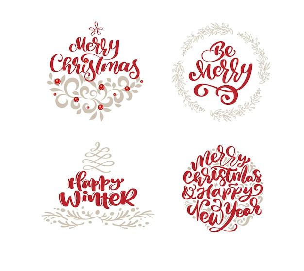 Merry christmas scandinavische set met vintage stijlelementen