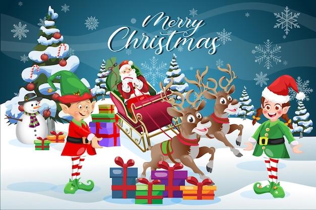 Merry christmas scene wenskaart cartoon santa claus met elfjes en sneeuwpop