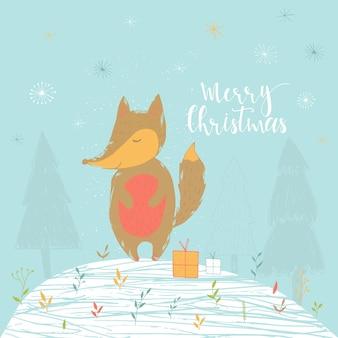 Merry christmas schattig wenskaart met vos voor cadeautjes. hand getekende stijl van posters voor uitnodiging, kinderkamer, kinderdagverblijf inrichting, interieur.