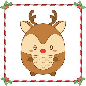 Merry christmas schattige kleuren rendieren tekenen met rode neus