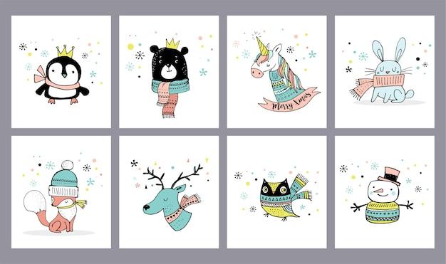 Merry christmas schattige wenskaarten, stickers, illustraties. pinguïn, beer, uil, hert en eenhoorn
