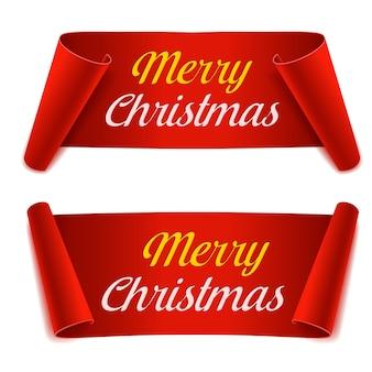 Merry christmas scroll papieren banners instellen. rood papier lint op witte achtergrond. realistisch label.