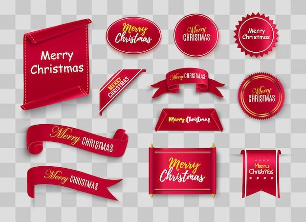 Merry christmas scroll rood. realistische papieren banners. banner met een felicitatie.