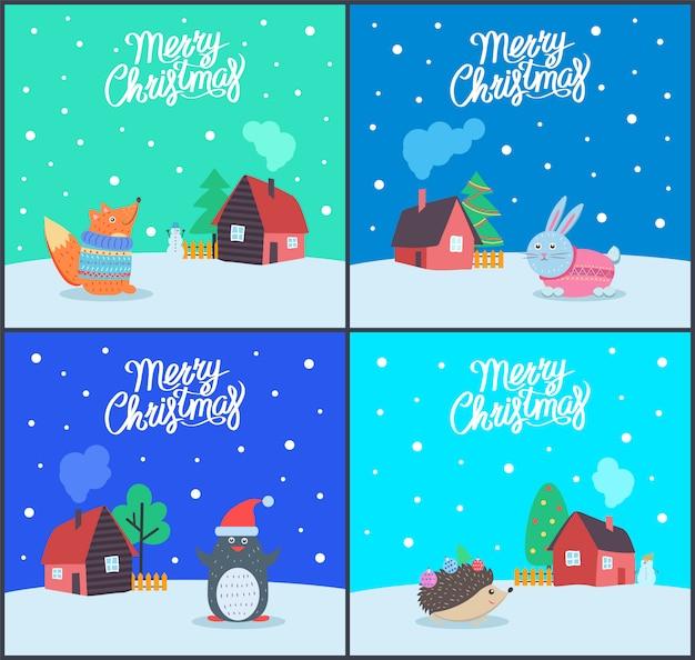Merry christmas seizoensgebonden winter vakantie set