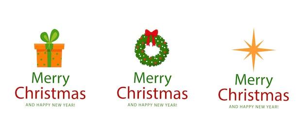 Merry christmas set en stickers gift christmas krans ster vectorafbeeldingen in vlakke stijl