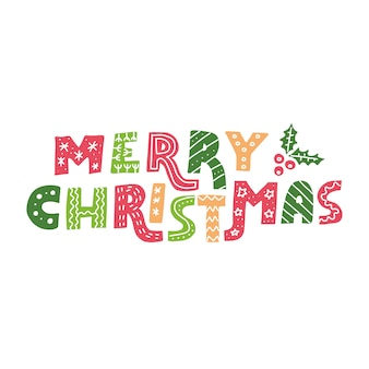 Merry christmas sierlijke belettering zin
