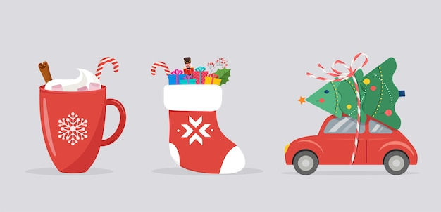 Merry christmas-sjabloon, banner met xmas-pictogrammen