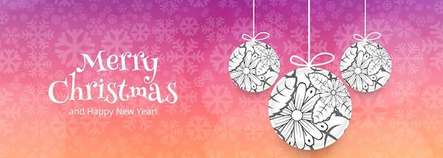 Merry christmas sjabloon voor spandoek met ornamenten