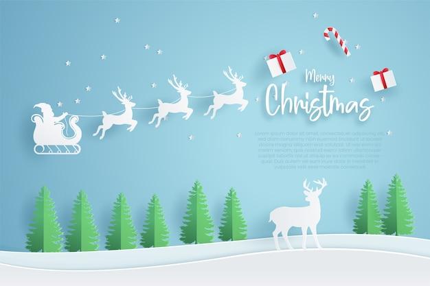 Merry christmas-sjabloon voor spandoek. papier gesneden stijl.