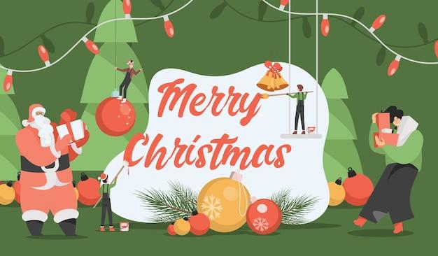 Merry christmas-sjabloon voor spandoek.