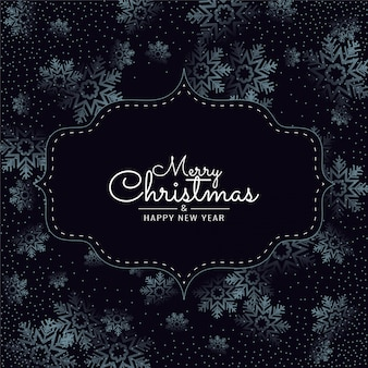 Merry christmas sneeuwvlokken donker met frame