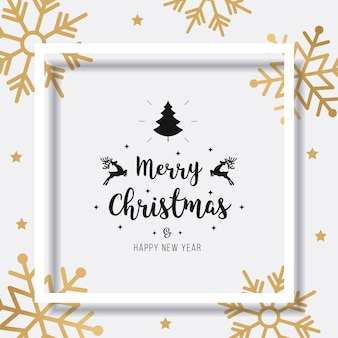 Merry christmas sneeuwvlokken kaart groet tekst schaduw frame