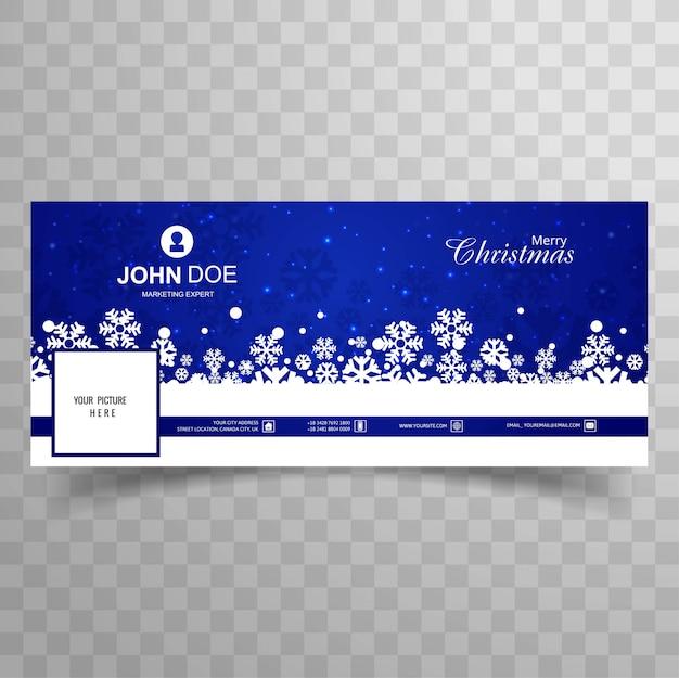 Merry christmas snowflake facebook voorbladsjabloon vector