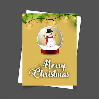 Merry christmas snowman bal met lichten achtergrond xmas typografie achtergrond