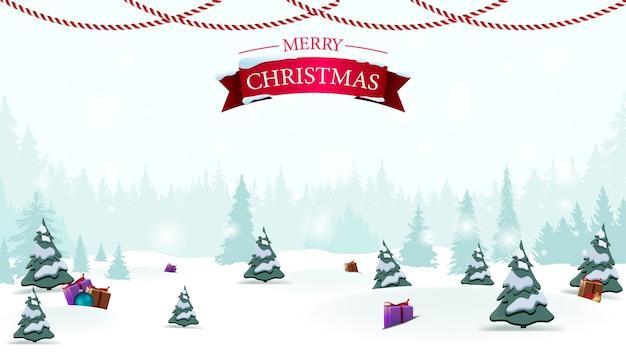 Merry christmas t winter cartoon landschap-achtergrond