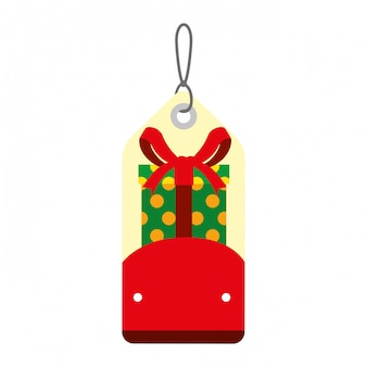 Merry christmas tag opknoping met cadeau