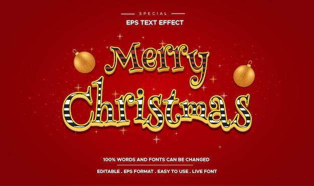 Merry christmas-tekst, bewerkbaar teksteffect in snoepkleurstijl