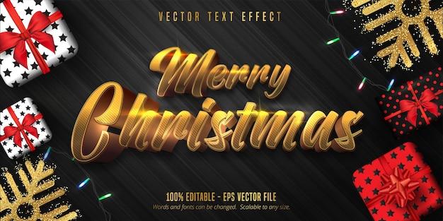 Merry christmas-tekst, glanzend goud bewerkbaar teksteffect in kerststijl