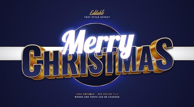 Merry christmas-tekst in blauwe en gouden stijl met gloeiend blauw neoneffect. bewerkbaar tekststijleffect