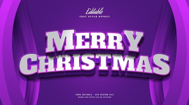 Merry christmas-tekst in gedurfde witte en paarse stijl met 3d-effect. bewerkbaar tekststijleffect