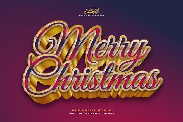 Merry christmas-tekst in kleurrijk en goud met 3d-effect. bewerkbaar tekststijleffect